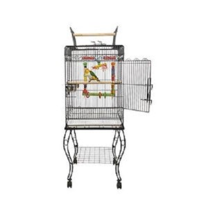 Liberta Gama Parrot Cage with Stand in Black